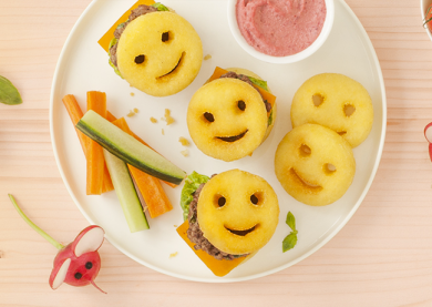 MINI BURGERS KID SMILE ET HUMOUS DE BETTERAVE